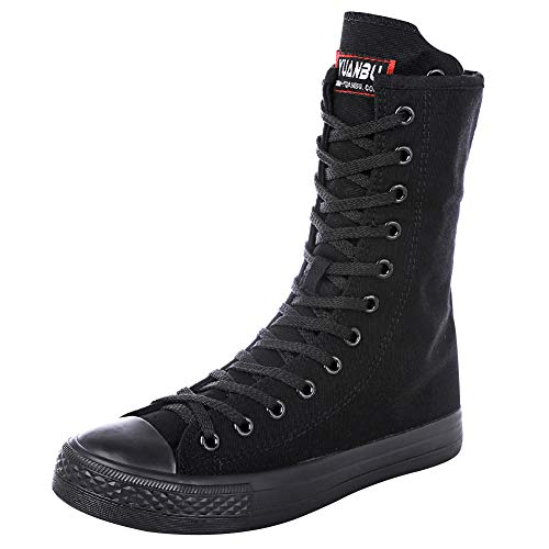 rismart Mujer Botas Lona Media Pierna Punk Altos Cordones Moda Sneakers(Negro,37 EU)