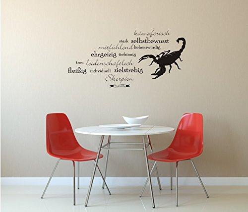 Sternzeichen: Skorpion - Wandtattoo - Charaktereigenschaften - Tierkreiszeichen - Wandaufkleber (920 mm x 450 mm, M070 Schwarz)