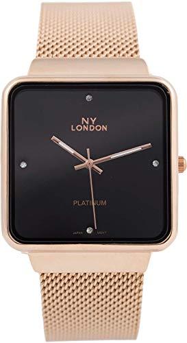 Rosemarie Collections - Reloj de pulsera unisex con correa de malla de metal milanés y elegante cara cuadrada para hombre