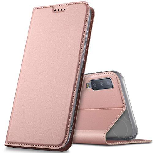 Verco Handyhülle für Galaxy A7 [2018], Premium Handy Flip Cover für Samsung Galaxy A7 Hülle [integr. Magnet] Book Hülle PU Leder Tasche, Rosegold
