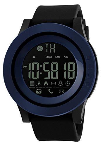Hombres Mujeres Reloj Inteligente Podómetro de calorías Cámara remota de Funciones múltiples, Reloj Inteligente Digital Resistente al Agua de 50M, Azul