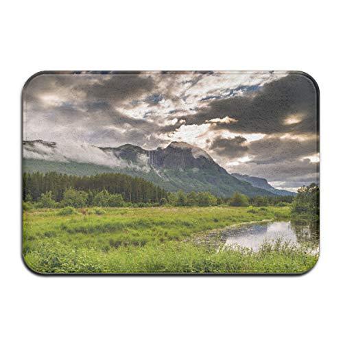 Valley Hemsedal Norge berg träd flod landskap tung plikt välkommen entré dörrmatta, halkfri baksida 40 x 60 cm