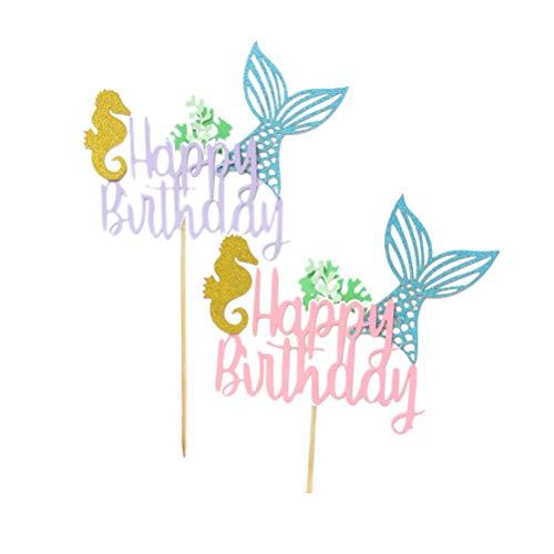 Toyvian Meerjungfrau Kuchen Dekorationen Alles Gute zum Geburtstag Cake Toppers für Geburtstagstorte Decoration,2Pcs
