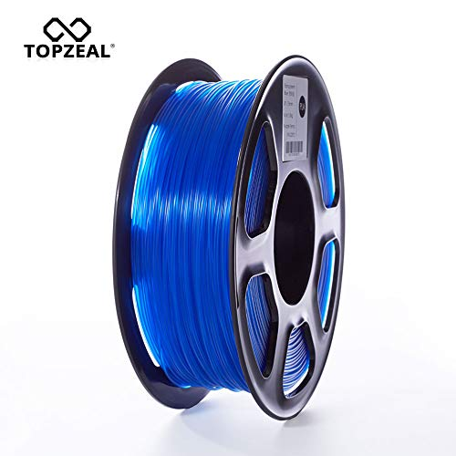 TOPZEAL 3D Printer Filament, Transparent Series Color PLA Filament 1.75mm, Dimensional Accuracy +/- 0.05mm, 2.2LBS(1KG) Spool for 3D Printer and 3D Pen (Transparent-Blue)