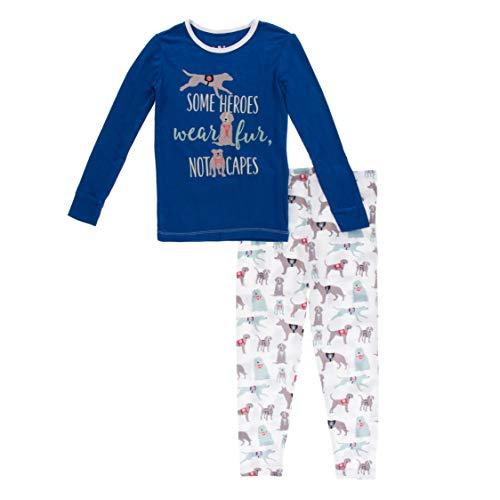 KicKee Pants Long Sleeve Piece Print Pajama Set (Natural Canine First Responders - 5 Years)