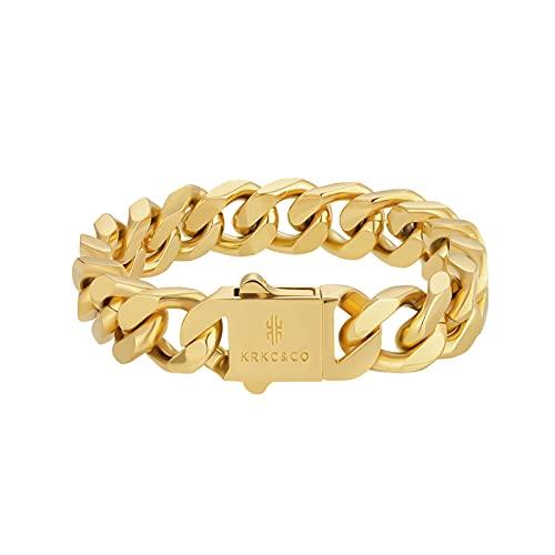KRKC&CO Bracciale da uomo Cuban 12/14mm, placcato in oro bianco 18 carati, con catena a maglia cubana cubana in acciaio inox, per uomo e ragazzo