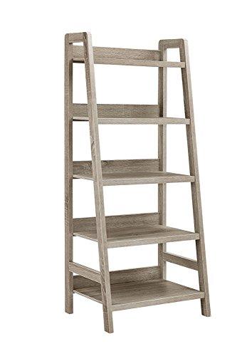 Linon Tracey Ladder Bookcase, 25'W x 17.99'D X 60'H, Gray Wash