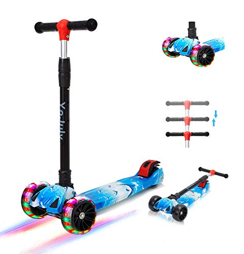 Zicosy Kids Scooter 3 Wheel Scooter,Adjustable Height Scooter for Kids ,Lean to Steer with Extra-Wide pu led Light up Wheels,Scooter for kidsfor Boys & Girls from 3 Years Old and up (Blue)