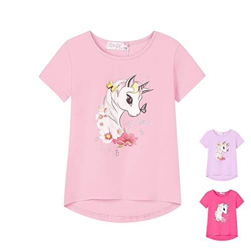 L&K-II Camiseta de niña con Estampado de Unicornio, Manga Corta, algodón Liso Estampado 5106 Pink 104