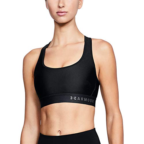 Under Armour Damen Mid Crossback atmungsaktives Bustier, komfortable Funktionsunterwäsche mit Kreuzträgern und Passform Kompression, Schwarz, Medium