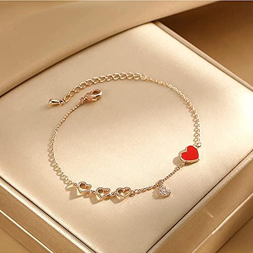 ShZyywrl Pulsera Charm Mujeres Joyería Red Love Heart Pulsera De Cristal De Circón con Micro Incrustaciones Pulseras De La Suerte De Aleación De Oro