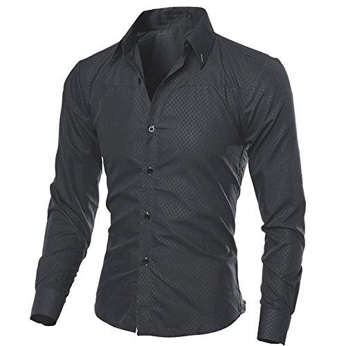 Xmiral Herren Hemden Tops Plaid Printed Bluse Lässige Langarm Slim Shirt Gentleman Arbeitskleidung(XS,Schwarz)