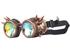 ZAIQUN Kaleidoscope Glasses Rivet Steampunk Windproof Mirror Vintage Gothic Rave Rainbow Crystal Lenses Steampunk Goggles #4