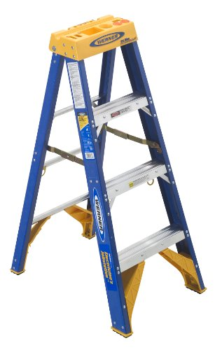 Werner OBEL04 Old Blue Electricians 375-Pound Duty Rating Fiberglass Stepladder/Job Station, 4-Foot