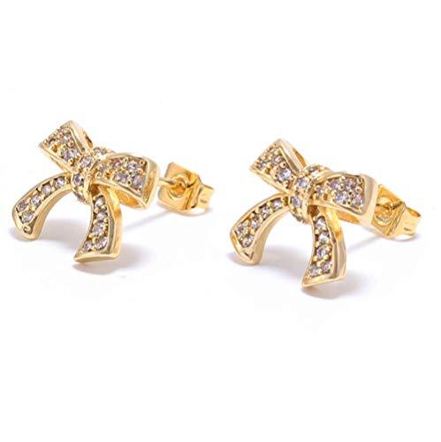 Vvff Pendientes De Corbata De Lazo De Oro Pendientes Geométricos Para Mujeres Y Niñas