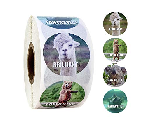 1000 Stuks 2 Roll Beloningsstickers Voor Leraren Leuke Motiverende En Stimulerende Stickers Voor Kinderen Trendy Dierlijk Meme-Speelgoed Stickers - B