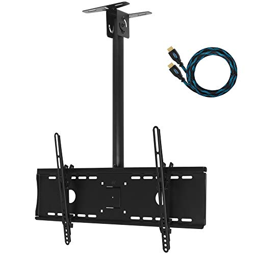 """Cheetah Mounts APLCMB Tilt, Swivel Black TV Ceiling Mount for 32"""" to 75"""" LED, LCD Flat Screen TV's; Includes One 15' Twisted Veins HDMI Cable"""