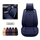 OASIS AUTO Leather Car Seat Covers, Faux Leatherette Automotive Vehicle Cushion Cover for Cars SUV Pick-up Truck Universal Fit Set for Auto Interior Accessories (Blue, OS-009 Front Pair)