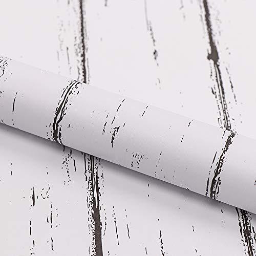 Klebefolie Möbel Weiß Holzoptik 45cmX3m Wasserdicht Möbelfolie Selbstklebend Tapeten Schrank Abnehmbare Dekofolie Möbelsticker Wand Vinylfolie Schlafzimmer Schränke Küchenfolie