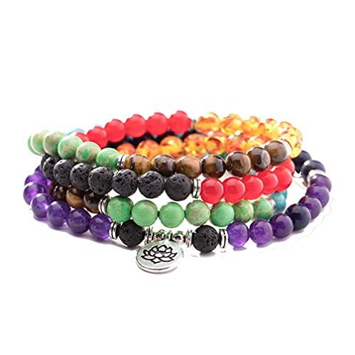 108 Mala Chakra Pulsera 8MM Cuentas de Oración Encanto Lotus Pulsera Collar para Hombres Mujeres Yoga Meditación Joyería Regalos
