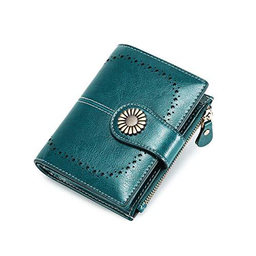 Portafoglio Donna Grande, Portamonete con Cerniera, Portafoglio con Protezione RFID, Porta Carte di Credito Tasche Pelle (blu-corto)
