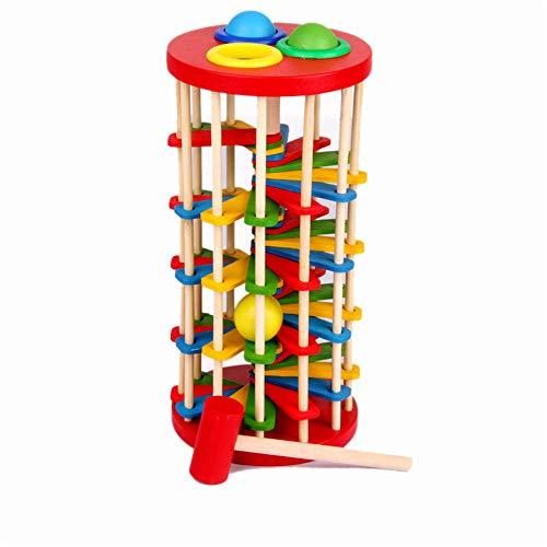 Jouets éducatifs pour bébé Wood Color Puzzle / commencer Exploiter la plate-forme de jeu Play Toys dans la plate-forme créative des jeunes enfants pour frapper l'échelle de balle Interaction parent-en