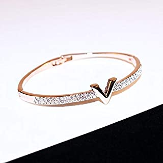 Ffx V Letter Design Best Zircon Rose Gold and White Simple Jewelry Bracelets for Women and Girls(Rose Gold) (Color : Rose Gold)