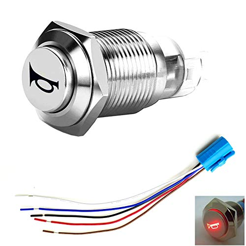 YIYIDA Car Horn Switch Interruptor de botón de bocina de coche Conector de 12V Interruptor de botón pulsador 16mm LED rojo ON/ OFF Interruptor de Botón de metal Interruptor de palanca de con enchufe