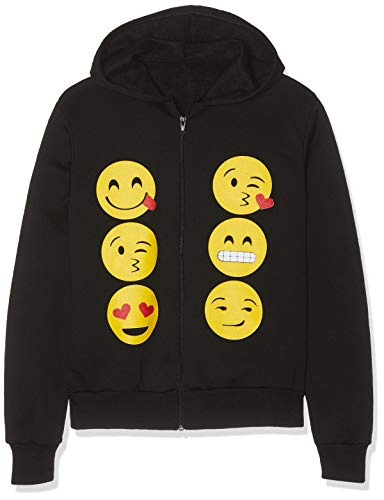 KIDS EMOJI EMOTICONS SMILEY FACES LONG SLEEVE HOODIES TOPS GIRLS AGE NEW,11-12 Years,Black