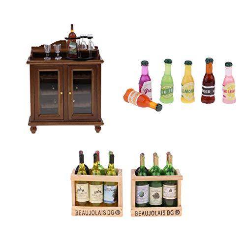 sharprepublic 1/12 Casa de Muñecas en Miniatura Gabinete de Vino Estante del Vino con Botellas Muebles Accs