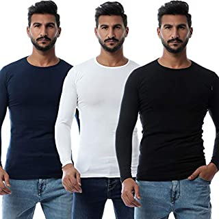 Round-Neck Long-Sleeve Solid Undershirt for Men, Set of 3