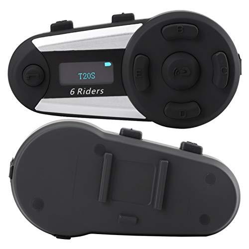 FOLOSAFENAR Botón Grande IP56 Impermeable Conveniente Casco de Moto inalámbrico Auricular Moto Radio FM Auricular Estéreo, con Pantalla