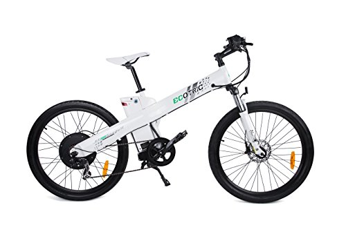 ECOTRIC 26' Powerful Ebike Electric Mountain Bicycle 48V/13AH 1000W Motor Removable Battery Aluminum Frame City Tire LED Display Throttle and Peddle Assist Power(White)