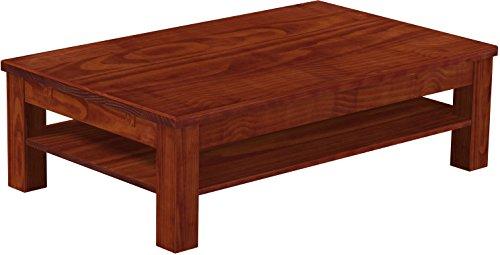 B.R.A.S.I.L.-Möbel Brasilmöbel Couchtisch Rio Classico 130x80 cm Mahagoni mit Ablage Wohnzimmertisch Holz Tisch Pinie Massivholz Stubentisch Beistelltisch Echtholz Größe und Farbe wählbar