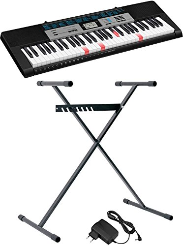 Casio LK-136SET keyboard zwart incl. voeding, incl. statief, lichttoetsen