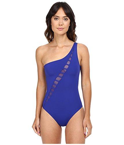 Bleu Rod Beattie Women's Meshing Around Asymmetrical Mio One Piece Swimsuit, Light Indigo, 8