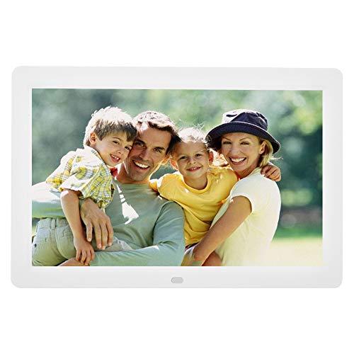 12 Zoll Digitaler Bilderrahmen mit Fernbedienung, 1280x800 HD LED Anzeige Elektronischer Fotorahmen mit Wecker Kalender Automatischer EIN/Aus, Musik Video Player Support 32GB SD Karte(Weiß)
