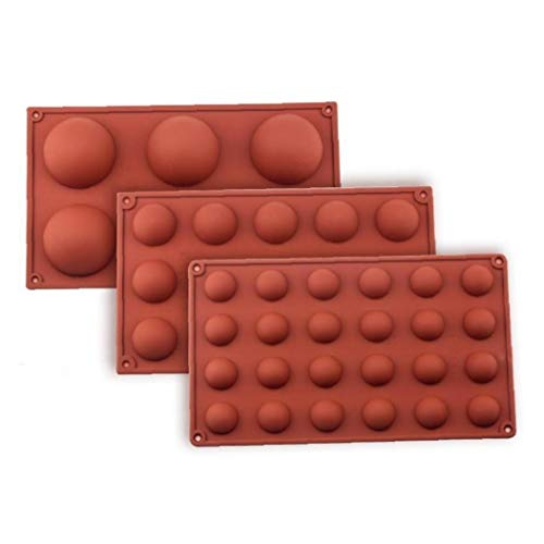 Angoter 6 Loch Kugel-Bereich Silikon-Form für Kuchen-Gebäck-Backen-Praline-Fondant Bakeware runder Form Dessert Mold-Dekor