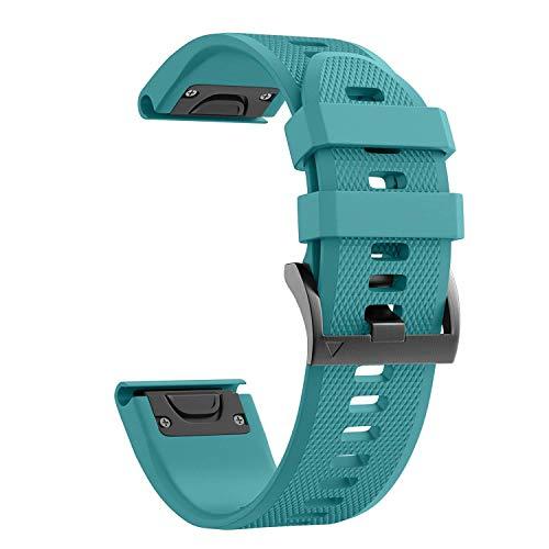 G-RF Bandas De Repuesto De Silicona 22mm 26mm para Garmin Fenix5 / Fenix5X Fenix ??6 Pulsera Varios Modelos (26mm,Azul Verde)