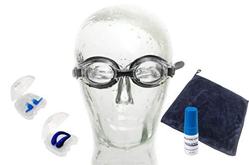 Aqua Speed Schwimmbrille für Frauen mit Stärke - Dioptrienwert : linkes & rechtes Glas individuell wählbar + Anti-Fog Fluid + Nasenclip + Ohrstöpsel + kleines Handtuch - schwarz - ungetönt