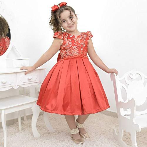 Vestido de Festa Infantil vermelho com tule francês