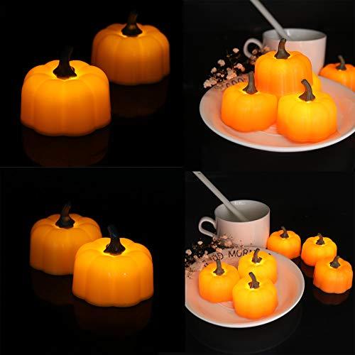 AKDXM 12 PCS Candela LED Senza Fiamme Zucca Tealight LED Batteria Flameless Pumpkin Candle Lights con Luci Tremolanti per Decorazioni di Halloween