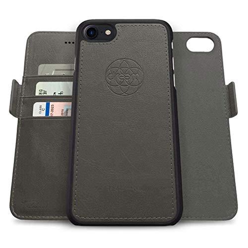 Dreem Fibonacci 2-in-1 Wallet-Case for Apple iPhone SE 2020 & 7/8 - Luxury Vegan Leather, Magnetic Detachable Shockproof Phone Case, RFID Card Protection, 2-Way Flip Stand - Grey