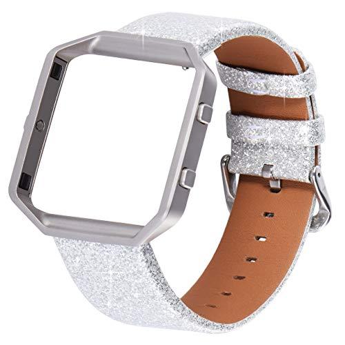 KADES Compatible con correa Fitbit Blaze, correa clásica de cuero genuino con marco de acero inoxidable compatible con reloj inteligente Fitbit Blaze, correa de plata con marco plateado.