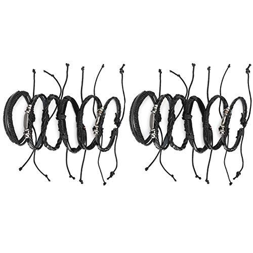 DAUERHAFT Punk Jewelry 2 Juegos de Pulsera grabada de Acero Inoxidable de Cuero PU, Regalo para Amigos, Pulsera Familiar de Cuero Trenzado de múltiples Capas para Hombre