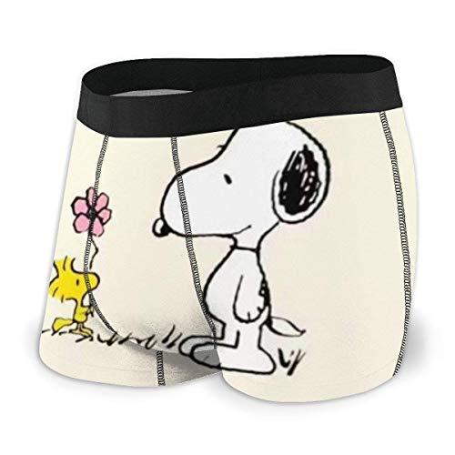 Beutel Boxer Briefs Short Trunks Cartoon Anime Snoopy Herren Unterwäsche Stretch Boxershorts für Männer Short Leg Unterhosen Atmungsaktive Bequeme Faserpackung