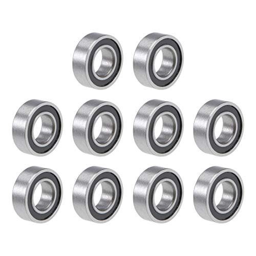 uxcell R166-2RS Deep Groove Ball Bearing 3/16-inchx3/8-inchx1/8-inch Sealed Z2 Lever Bearings 10pcs