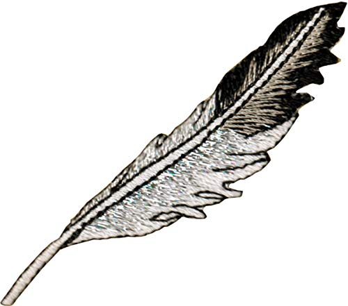 Square Deal Recordings & Supplies Black and Silver Feather - Embroidered Iron on Patch