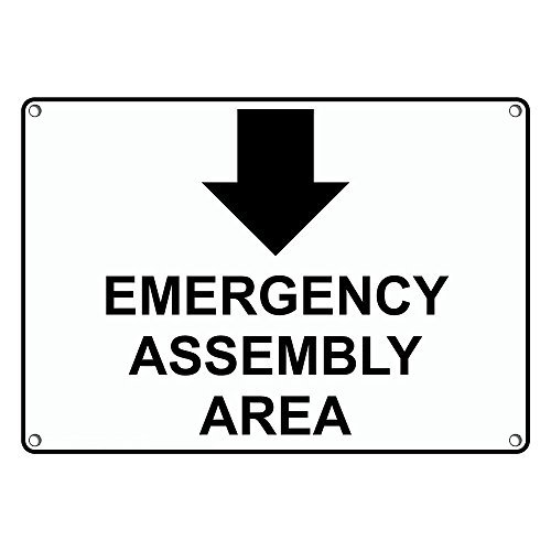 Weatherproof Plastic Emergency Assembly Area [ Down Arrow ] Sign with English Text and Symbol