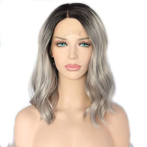 14 inch Zilvergrijs golvend haar met Dark Roots Pruiken for Vrouwen, Natuurlijke Wave Synthetisch 150% High Density Pruik for Cosplay partij of Daily